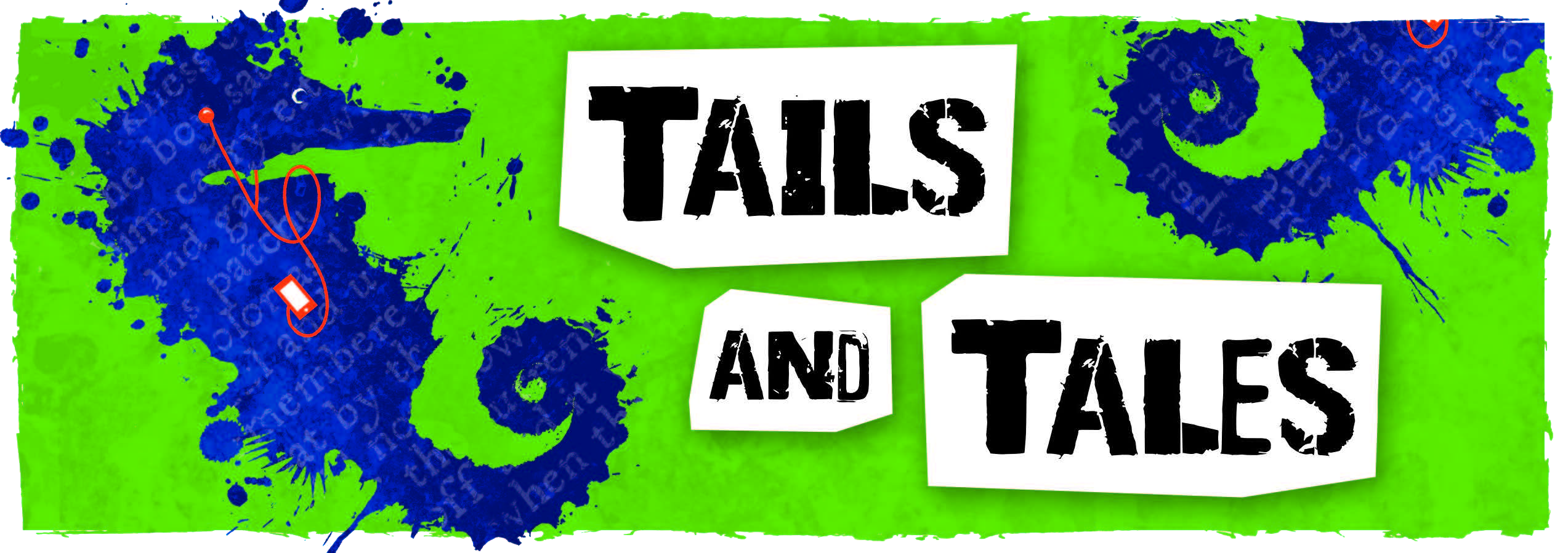Summer Reading Logo: Green banner with a blue seahorse listening to an audio book and the text Tails and Tales