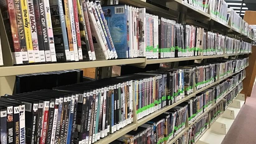 a shelf of DVDs