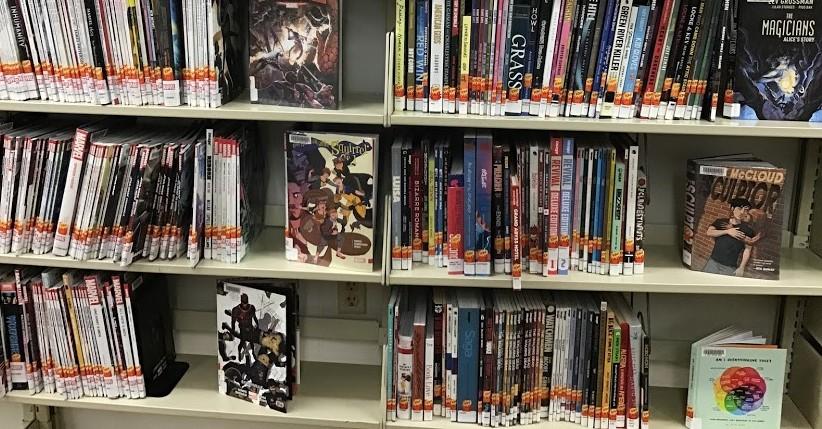 shelf of graphic novels