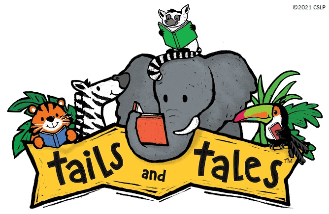 Tails and Tales Logo - Animals on top of a banner that reads tails and tales