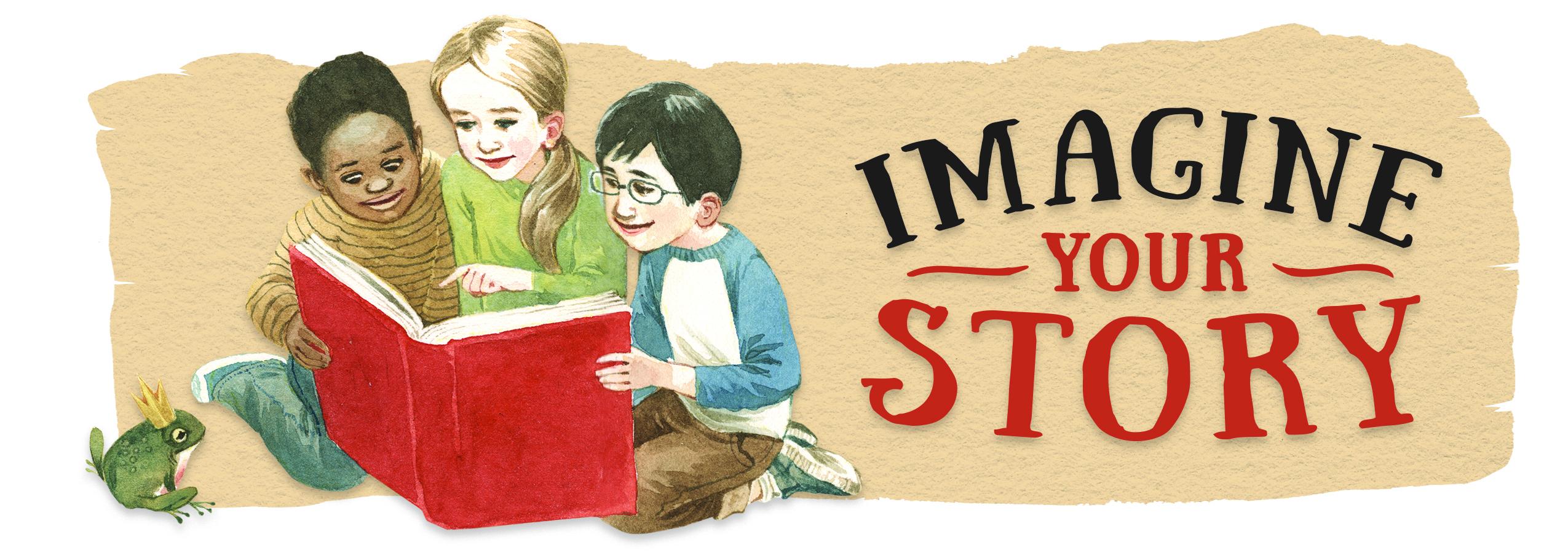 Children reading a book - summer reading program logo