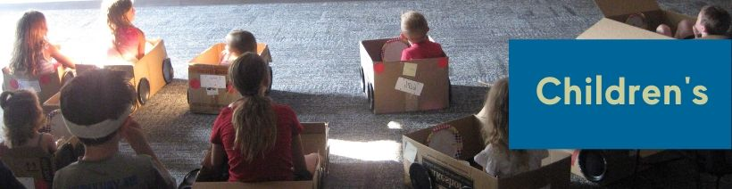 """Kids at the """"drive in"""" in cardboard boxes"""